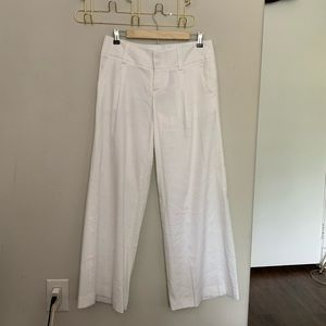 Alice + Olivia White Linen Wide Leg Pants